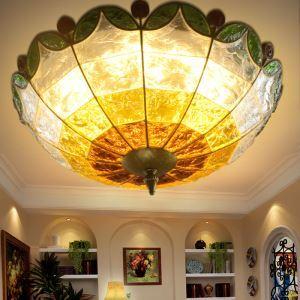 (EU Lager)Hübsche Deckenleuchte aus Buntes Glas Eisen 3-flammig im Wohnzimmer