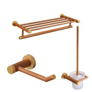 (EU Lager)Badset 3 tlg. aus Holz Handtuchhalter Toilettenpapierhalter WC-Bürstenhalter