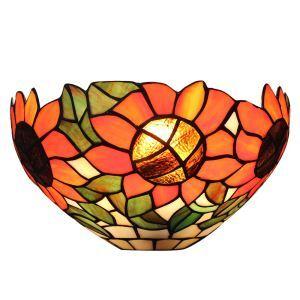 (EU Lager)D30cm Tiffany Wandleuchte Sonnenblume Design 1-flammig im Flur