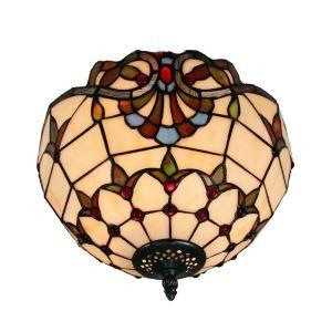 (EU Lager)Aparte Deckenleuchte Tiffany Stil D30cm 2-flammig im Esszimmer