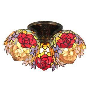(EU Lager)Tiffany Deckenleuchte Rosen Design 3-flammig im Schlafzimmer