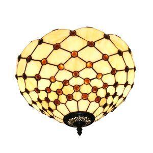 (EU Lager)Tiffany Deckenleuchte D30cm Netz Design 2-flammig im Esszimmer