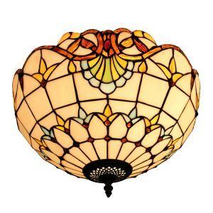 (EU Lager)Facettenreiche Deckenleuchte Tiffany Stil D30cm 2-flammig im Esszimmer