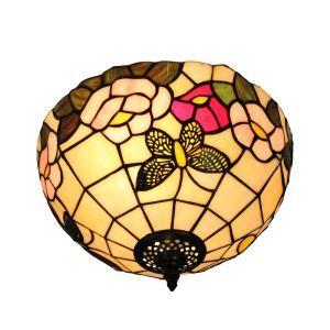 (EU Lager)D30cm Tiffany Deckenleuchte Schmetterling Blumen Design 2-flammig