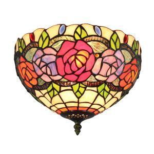 (EU Lager)D30cm Tiffany Deckenleuchte Bunte Rosen Design 2-flammig im Wohnzimmer