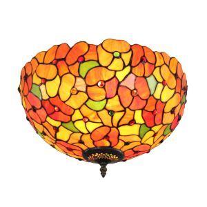 (EU Lager)Farbenprächtige Deckenleuchte Tiffany Stil D30cm Blumen Design 2-flammig