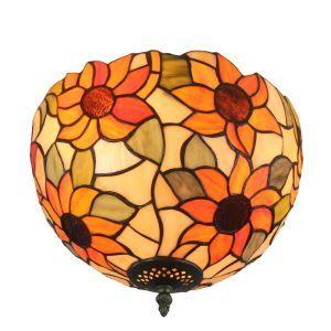 (EU Lager)Tiffany Deckenleuchte D30cm Sonnenblume Design 2-flammig