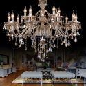 Kristall Kronleuchter Prachtvoll Beige 15-flammig im Wohnzimmer
