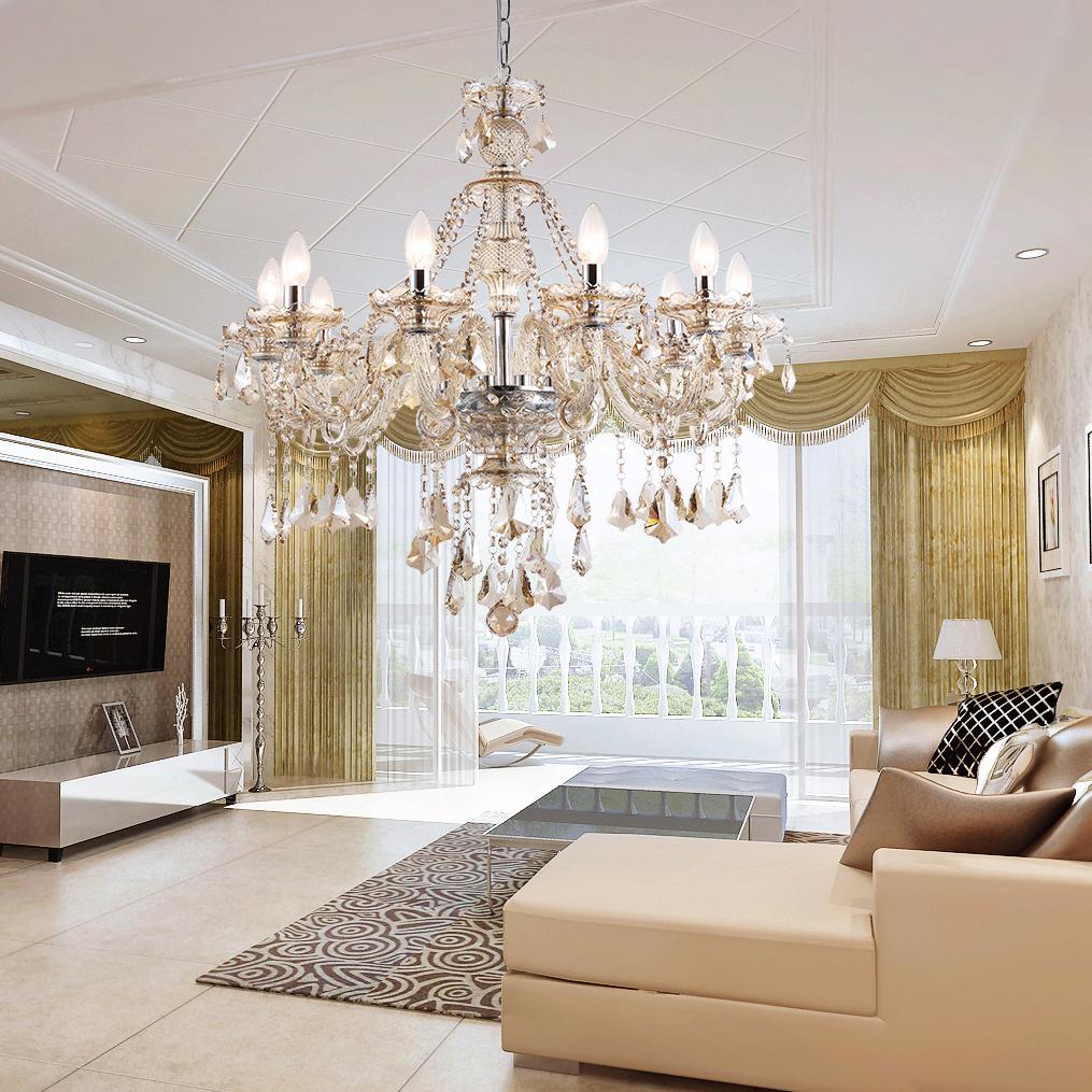 Kristall Kronleuchter Modern Stilvoll 9 flammig im Esszimmer