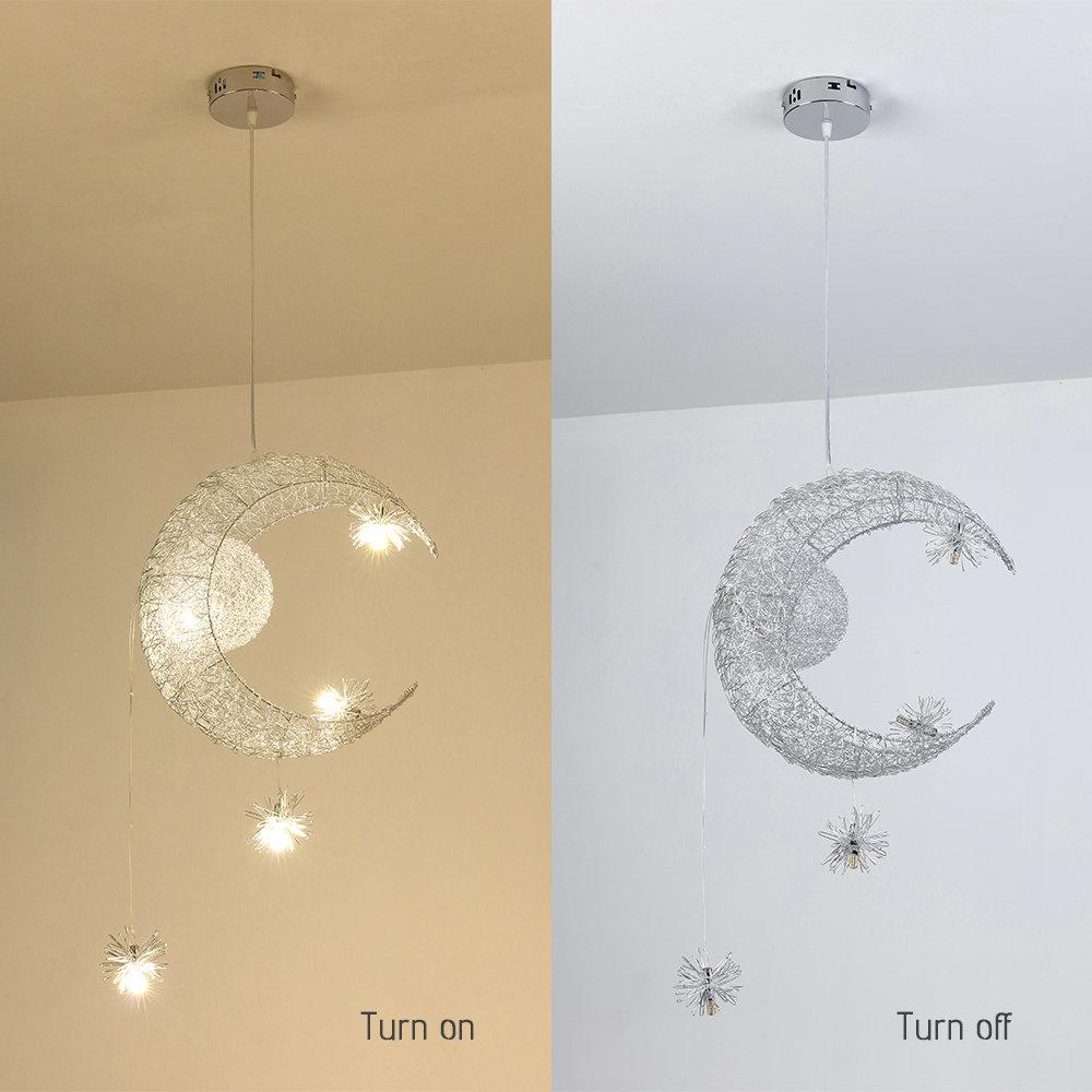 LED Pendellampe Kronleuchte Mond Sterne Form Kinderzimmer Schlafzimmer Hängelamp