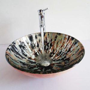 Modern Glas Waschbecken Bad Bunt Rund ohne Wasserhahn