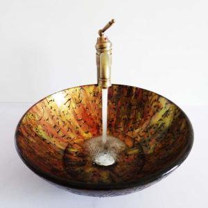 Glas Waschbecken Bad Rund Stilvoll ohne Wasserhahn