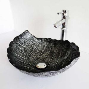 Glas Waschbecken Blätter Design Schwarz ohne Wasserhahn