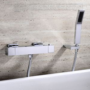 Thermostat Duscharmatur Modern Chrom Aufputz Wandmontage