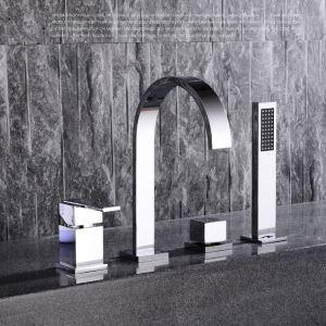 Moderne Wannenrandarmautr Chrom 4-Loch-Badewannenarmatur