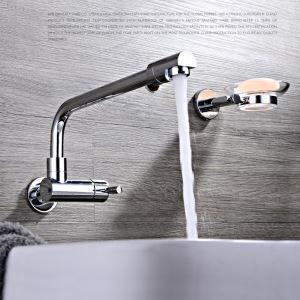 Moderne Waschtischarmatur Bad Chrom Wandmontage Kaltwasser