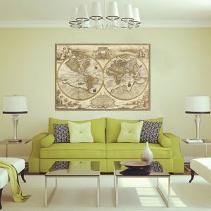 Weltkarte Vintage Stil Wandtattoo aus PVC