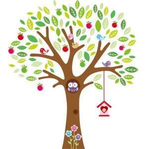 PVC Wandtattoo Cartoon Eule im Apfelbaum