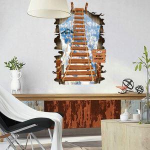 3D Wandtattoo Holz Hängeseilbrücke