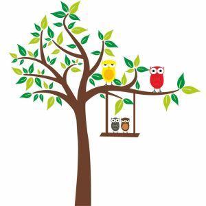 PVC Wandtattoo Cartoon Baum mit Eule Familien