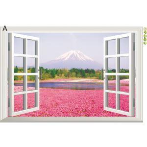3D Wandtattoo Bunt Landschaft aus Fenster