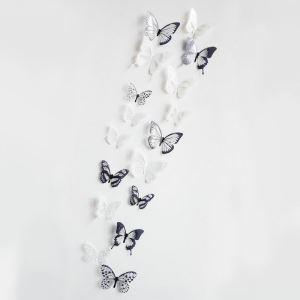 3D Schmetterlinge Wandtattoo Schwarz Weiß 12er-Pack
