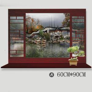 3D Wandtattoo Chinesische Landschaft aus dem Fenster