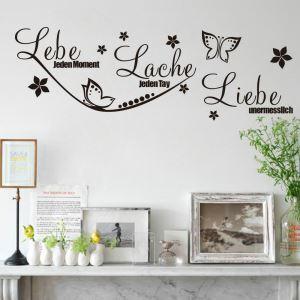 PVC Wandtattoo Lebe Lache Liebe mit Schmetterling