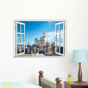 3D Wandtattoo Schloss aus dem Fenster