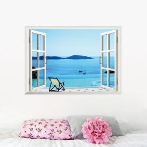 3D Wandtattoo Meer aus dem Fenster