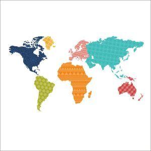 PVC Wandtattoo Bunt Weltkarte