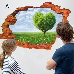 3D Wandtattoo Landschaft Herzbaum PVC Fototapete