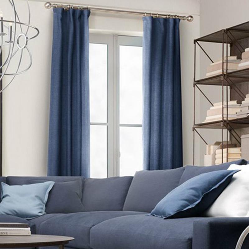 Vorhang Uni Blau aus Leinen im Wohnzimmer