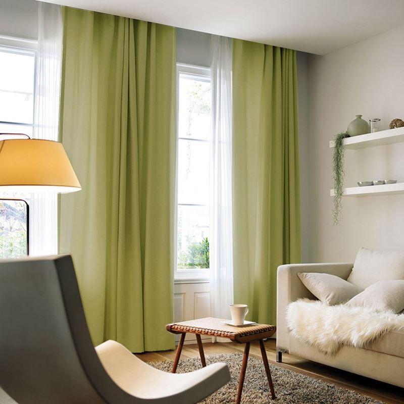 Schlafzimmer Vorhang Modern: Moderner Vorhang Unifarbe Aus Leinen Im Schlafzimmer