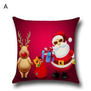 (EU Lager)Kissenhülle Weihnachten Weihnachtsmann Weinachtshirsch Design
