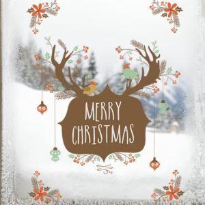 Merry Christmas PVC Wandtattoo Weihnachten Hirsch Design