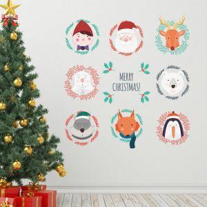 PVC Wandsticker Merry Christmas Cartoon Tiere Design