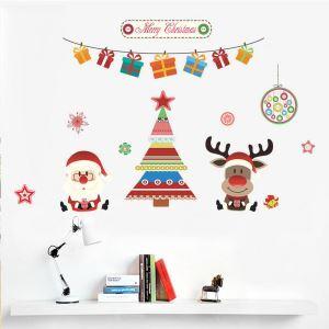 Merry Christmas PVC Wandtattoo Tannenbaum Weihnachtsmann Design