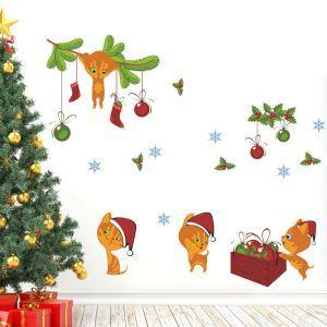 PVC Wandtattoo Weihnachten Katze Design im Kinderzimmer