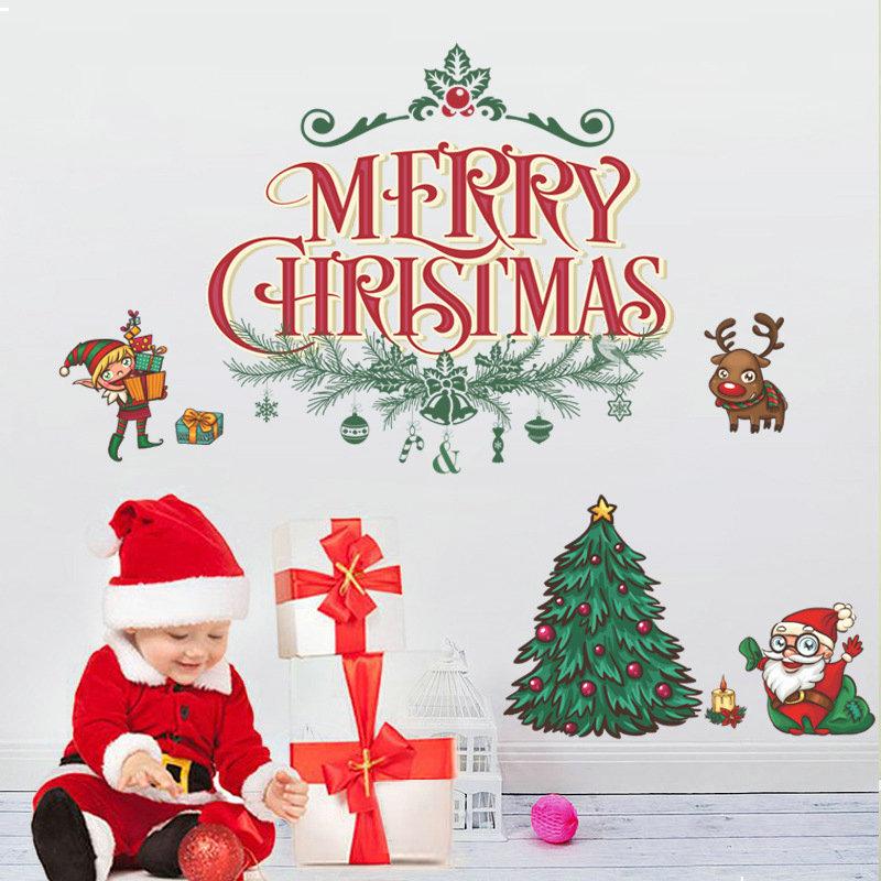 Merry Christmas Pvc Wandtattoo Weihnachtsbaum Design Im