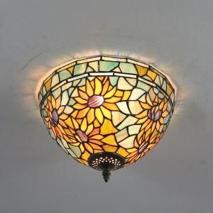 (EU Lager)Tiffany Deckenleuchte D30cm Sonnenblume Design 2-flammig im Schlafzimmer