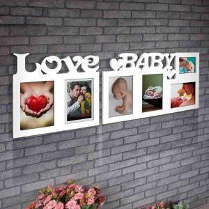 Weiße Rahmencollage Love Baby Design aus Holz
