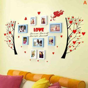 9er Bilderrahmen Set Herz Design Wandmontage aus Holz