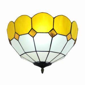 (EU Lager)Tiffany Deckenleuchte D40cm Gelb Rand 2-flammig im Esszimmer