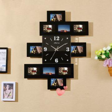 Moderne Wanduhr mit Fotorahmen im Kinderzimmer Wohnzimmer