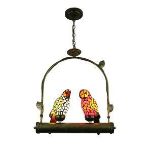 Pendelleuchte Tiffany Dekoration Papagei 2-Flammig