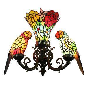 Wandleuchte Tiffany Glas Papagei Blumen Muster 3-Flammig