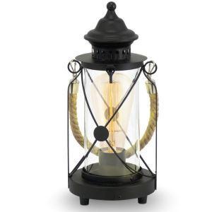 Tischlampe Antik Laterne Hanfseil Griff im Wohnzimmer