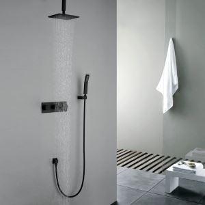 Retro Duschsystem Regenfall Unterputz Wandmontage Schwarz mit Handbrause