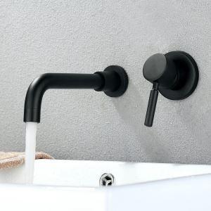 Waschtischarmatur Schwarz Wandmontage Einhandmischer 2-Loch Montage
